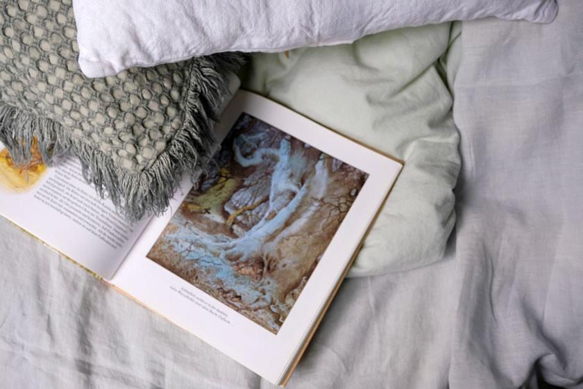 Farbinspiration - Textilien in zarten Blau- und Grüntönen schmeicheln dem Blau der Wände.