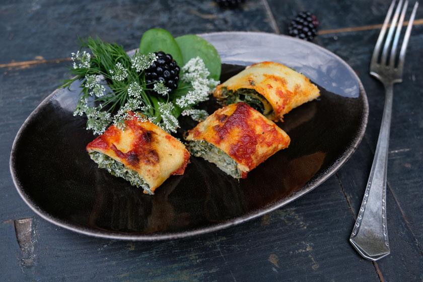 Crêpes für Crespelle alla giardino mit Giersch oder Spinat und Sommersalat