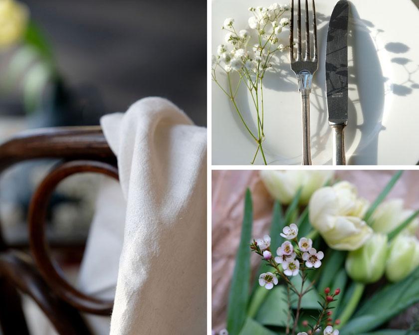 Weiß wie Schnee - Tischdekoration mit weißen Blüten und Vintagevasen