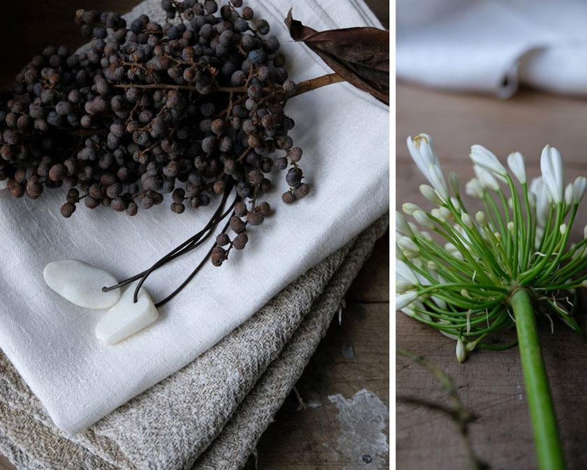 Getrocknete Datteln und weißer Agapanthus