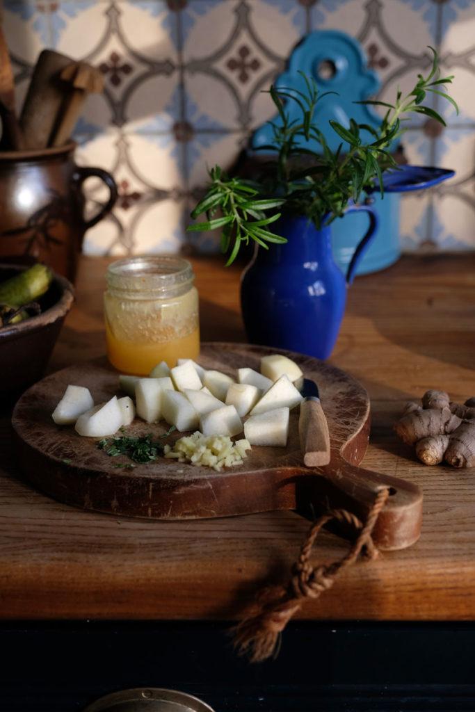 Honigbirnen mit Ingwer und Rosmarin