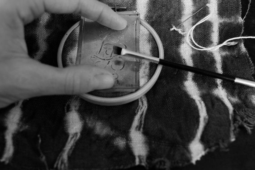 Stickmonogramm mit Schnurstich