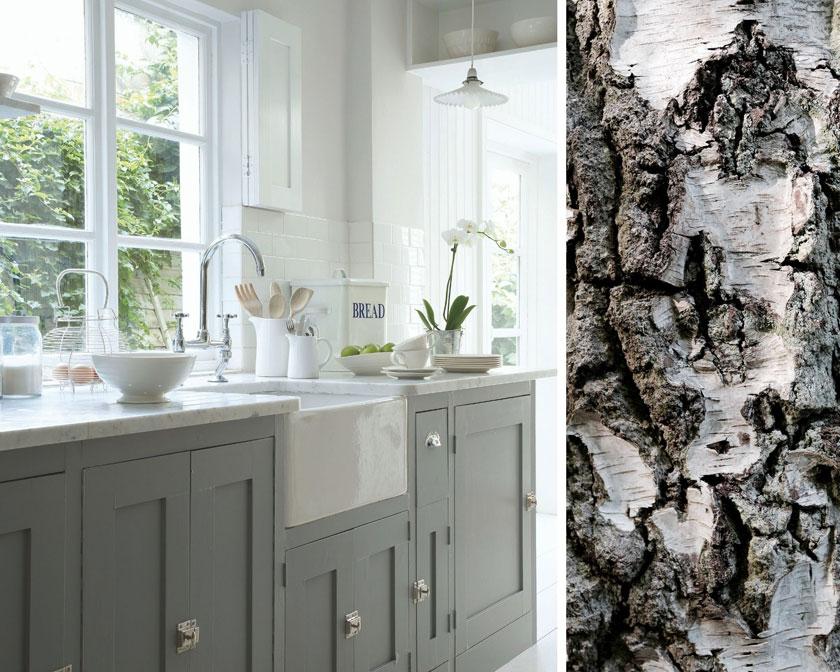Pantone-Trendfarbe: Das ruhige Grau von Little Greene sorgt für einen natürlichen frischen Look in der Küche.