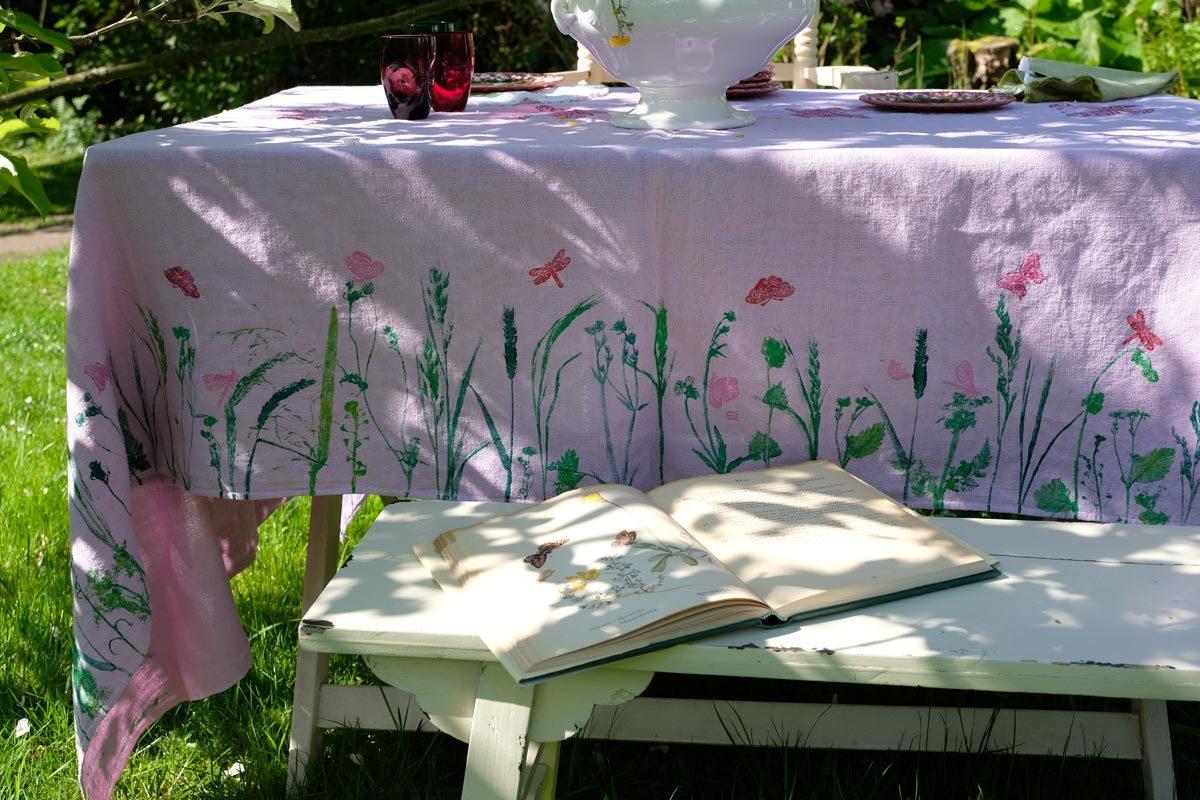 """Stoffdruck: Sommertischdecke """"Schmetterlingswiese"""". Ein DIY"""