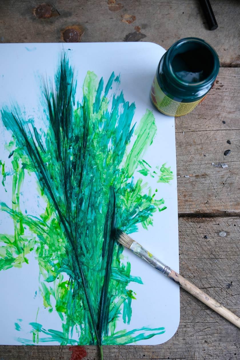 Stoff mit Gräsern bedrucken