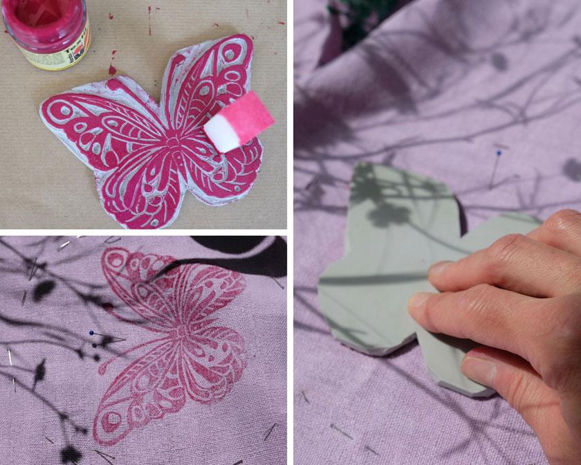 Sommertischdecke mit Schmetterlingen und Gräsern bedrucken. Ein DIY